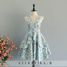 Roses Petal Summer's Whisper Collection Spring Summer Sundress Blue... ($32) ❤ liked on Polyvore featuring dresses, grey, women's clothing, summer sundresses, cotton summer dresses, blue summer dress, vintage sundress and sun dresses