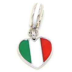 925 Sterling Silver Dangling Italian Flag Heart Charm Bead 622 * Want to know more, click on the image.