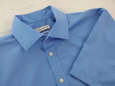 Joseph Abboud Shirt 16 1/2 Short Sleeve Blue Dress Button 100% Cotton No Iron #JosephAbboud #$5.99