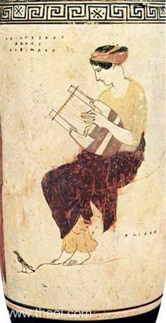 Greek muse Calliope on Mount Helicon . A bird is at her feet . The Mousai or Muses were the goddesses of song - and earlier poetry , literature. Ancient Greek Art, Ancient Rome, Ancient Greece, Ancient Music, Classical Antiquity, Classical Art, Mythological Characters, Daughter Of Zeus, Greek Pottery