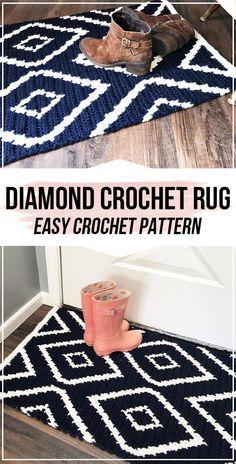 crochet Diamond Crochet Rug pattern - easy crochet rug pattern for beginners Crochet Mat, Crochet Carpet, Crochet Rug Patterns, Tapestry Crochet, Crochet Designs, Crochet House, Crochet Home Decor, Crochet Crafts, Yarn Crafts