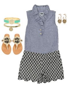 Keep it simple and sweet with this One Fine Day Chambray Tunic and these Hide…