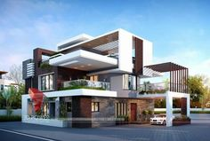 Ultra Modern Home Design Architecture with fins and glass railings. modern home exterior contemporary Modern Home Exterior Contemporary Modern Bungalow Exterior, Modern Exterior House Designs, Modern House Facades, Modern Architecture House, Modern House Plans, Modern House Design, Bungalow House Design, House Front Design, Kerala House Design
