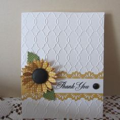 hand crafted Thank You card . embossing folder texture for background . die cut sunflower with gingham print petals . Making Greeting Cards, Greeting Cards Handmade, Sunflower Cards, Embossed Cards, Thanksgiving Cards, Card Making Inspiration, Creative Cards, Homemade Cards, Fall Cards