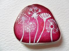Flower seeds - Original miniature art on smooth English beach find pottery. I also paint to order, please contact me with any requests :-) Pebble Painting, Love Painting, Pebble Art, Rock Flowers, Rock Design, Yarn Bombing, Button Art, Rock Crafts, Flower Seeds