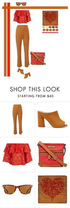 """""""Summer Warmth"""" by southindianmakeup1990 ❤ liked on Polyvore featuring WtR, Miss Selfridge, Alice + Olivia, Rosetti and Ray-Ban"""