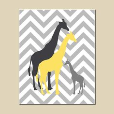 Giraffe Nursery Art Gray Grey Yellow Charcoal Chevron Kids Wall Art Print Baby Girl Boy Nursery Playroom Decor Safari Jungle Bright Bold