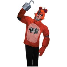 Five Nights at Freddys: Foxy Adult Costume ($43) ❤ liked on Polyvore featuring costumes, halloween costumes, adult halloween costumes, red costume, red halloween costumes and adult costume
