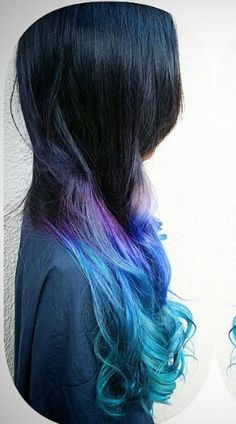 Purple blue ombre dip dyed hair