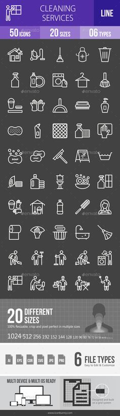 Cleaning Services Line Inverted Icons