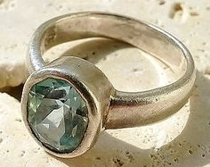 STUNNING Artistic Handmade Large Aquamarine and Sterling Silver Bezel Set Estate Ring! March Birthstone! Icy Pale 3.4 carat stone!