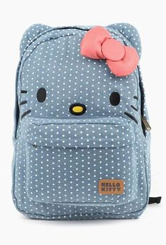 Cute hello kitty bag that is polka dotted.
