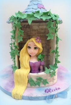 Rapunzel by Nessie - The Cake Witch Doll Birthday Cake, Rapunzel Birthday Party, Mermaid Birthday Cakes, Rapunzel Flynn, Bolo Rapunzel, Princess Rapunzel, Girly Cakes, Cute Cakes, Cake Pictures