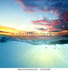 Design Template With Underwater Part And Sunset Skylight Splitted By Waterline Foto Stock 114531499 : Shutterstock