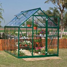 Palram Harmony 6' x 8' Greenhouse with Green Frame and Starter Kit