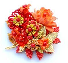 Bold Bright Stanley Hagler N Y C and Ian St Gielar Floral Beaded Brooch Pin | eBay