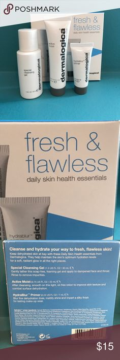 DERMALOGICA FRESH&FLAWLESS DAILY SKIN ESSENTIALS BRAND NEW💎TRAVEL SIZE SKINCARE FOR FRESH AND FLAWLESS SKIN. PRICE FIRM UNLESS BUNDLED💎NO OFFERS ON BUNDLES PLEASE. I HAVE TONS OF BEAUTY AVAILABLE TO BUNDLE AND SAVE MORE! TAKE A LOOK 👀 Sephora Makeup