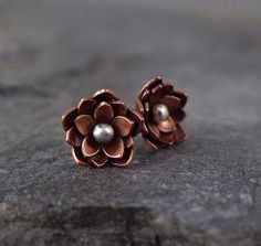 Lotus Blossom Flower Copper post earrings by Hapagirls on Etsy