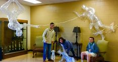 Spider-Man packing tape sculpture by high school students
