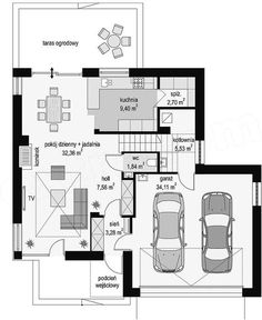 Rzut parteru projektu Tytan 4 Dream House Exterior, Dream House Plans, House Floor Plans, Modern Architecture House, Modern House Design, Lofts, House 2, Planer, Sweet Home