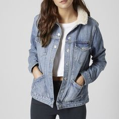 TopShop Moto Jacket EUC, seldom worn. Size 4, 100%  cotton. Very warm and stylish for the winter season. Topshop Jackets & Coats Jean Jackets