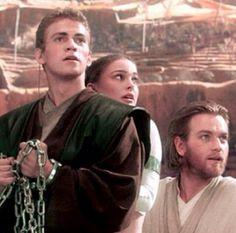 Anakin Padme and Obi-wan see the clone ships coming.