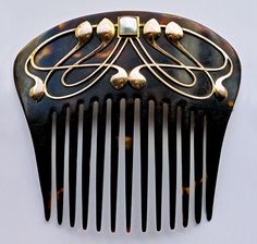 ca 1900 Joseph Henry Barnet, Art Nouveau Comb, Gold Tortoiseshell, British