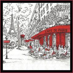 Paper Napkins Parisian cafe black red white Napkins for Decoupage, junk journaling, scrapbooking, cardmaking Paris Kunst, Decoration, Art Decor, Framed Artwork, Wall Art, Paper Napkins For Decoupage, Paris Cafe, Tropical Art, Art Boards