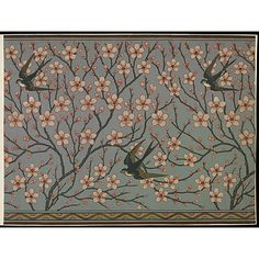 Portion of wallpaper frieze 'Almond Blossom and Swallow', depicting swallows flying amidst branches of pink blossom, on a blue ground; Designed by Walter Crane; Colour print from wood blocks, on paper; Produced by Jeffrey & Co. Walter Crane, Arts And Crafts Movement, Illustrations, Illustration Art, Art Nouveau, John Everett Millais, Chinoiserie, Crane Design, Motifs Textiles
