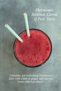 A healthy and refreshing Thermomix Beetroot Carrot and Pear Juice with a hint of ginger and lime. No clearing up messy pulp the Thermomix just blends it all. Pear Smoothie, Smoothies, Delicious Vegan Recipes, Gluten Free Recipes, Healthy Juices, Healthy Snacks, Beet Root Juice, Juicing For Health, Beetroot