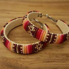 Native American Beaded Earrings Native beaded hoop earrings. Measures 2 inches. Native made Jewelry Earrings