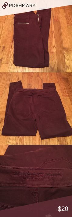 American eagle burgundy pants! Size 10! American Eagle outfitters burgundy skinny pants size 10! Worn once! Zippered pockets on front! American Eagle Outfitters Pants Skinny