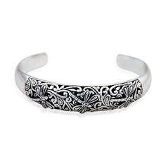 Sterling Silver Bali Inspired Filigree Dragonfly Design Cuff Bracelet, (celtic, bracelets, earrings, bracelet, jewelry, silver, silver jewelry, sterling silver, celtic silver link bracelet, costume jewelry)