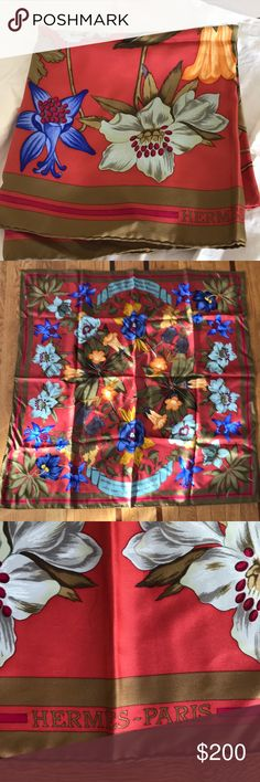 Hermès Scarf Barely used vintage Hermès scarf. 100% silk and full of vibrant and beautiful colors. Box not included. Make an offer 😊 Hermes Accessories Scarves & Wraps