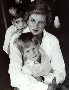 Princess Di with Will and Harry