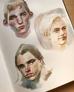 This page of boys is complete!😋 All are in watercolour and studied off photos. Right now I'm having dim sum in Toronto for my birthday… Watercolor Sketch, Watercolor Portraits, Watercolor Paintings, Kunst Inspo, Art Inspo, Art And Illustration, Guache, Traditional Paintings, Art Sketchbook