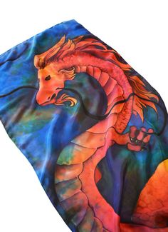 Dragon Silk Scarf Hand painted in Red and Blue. by AstaSilkWorld