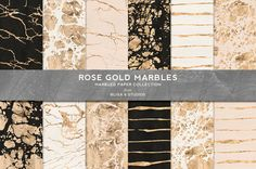 Rose Gold Marbles and Veins in Metallic Foil by Blixa6Studios