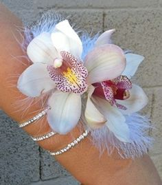 Image result for flapper flower corsage with feathers and rhinestones prom