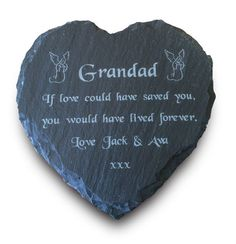 Personalised Engraved Natural Slate Stone Heart Memorial Grave Marker Plaque
