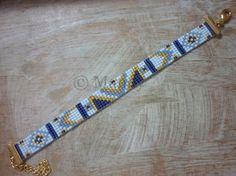 contemporary bead loom patterns for beginners Peyote Beading Patterns, Loom Bracelet Patterns, Bead Loom Bracelets, Bead Loom Patterns, Woven Bracelets, Loom Beading, Bracelet Or, Loom Bands, Fil Bleu