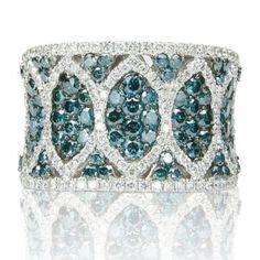 Effy Jewelry Bella Bleu® Blue Diamond & Diamond Ring in 14k White Gold 2.46 TCW
