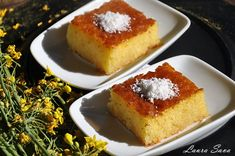 Semolina cake with syrup Easy Sweets, Sweets Recipes, Cooking Recipes, Greek Recipes, Desert Recipes, Semolina Cake, Sweet Cooking, Romanian Food, Dessert Drinks