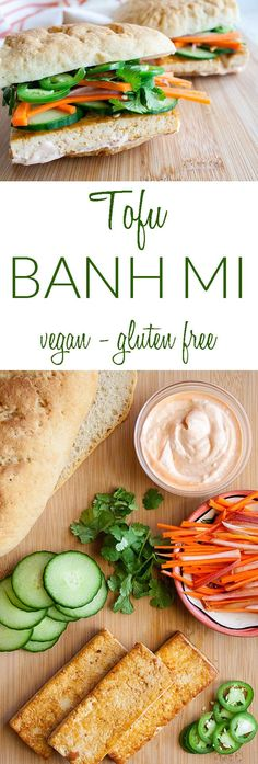 Spicy Tofu Bánh Mì ( Spicy Tofu Bánh Mì (vegan gluten free) - This Vietnamese sandwich has spicy tofu pickled carrots sriracha mayo cucumber and jalapeño on a baguette. Vegan Sandwich Recipes, Best Vegetarian Recipes, Vegan Dinner Recipes, Tofu Recipes, Vegan Breakfast Recipes, Delicious Vegan Recipes, Vegan Dinners, Lunch Recipes, Real Food Recipes