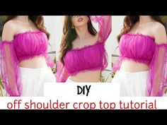 OFF SHOULDER CROP TOP with RUFFLE SLEEVES DESIGN CUTTING AND STITCHING | simple and stylish - YouTube