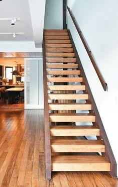 Resultado de imagem para escada de aço corten e madeira