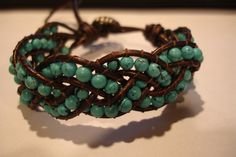 Turquoise Leather Wrap Braided Bead Bracelet by EliseMargoDesigns