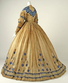 Dress Date: ca. 1865 Culture: American Medium: cotton Dimensions: [no dimensions available] Credit Line: Gift of Mrs. John W. Mackay, 1967 - Visit to grab an amazing super hero shirt now on sale! Civil War Fashion, 1800s Fashion, 19th Century Fashion, Victorian Fashion, Vintage Fashion, 18th Century, Antique Clothing, Historical Clothing, Vintage Gowns