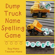 Cute name game activity. Dump truck spelling.