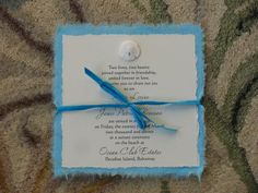Beach Wedding Invitation-Real Sand Dollar and Mulberry paper--SAMPLE